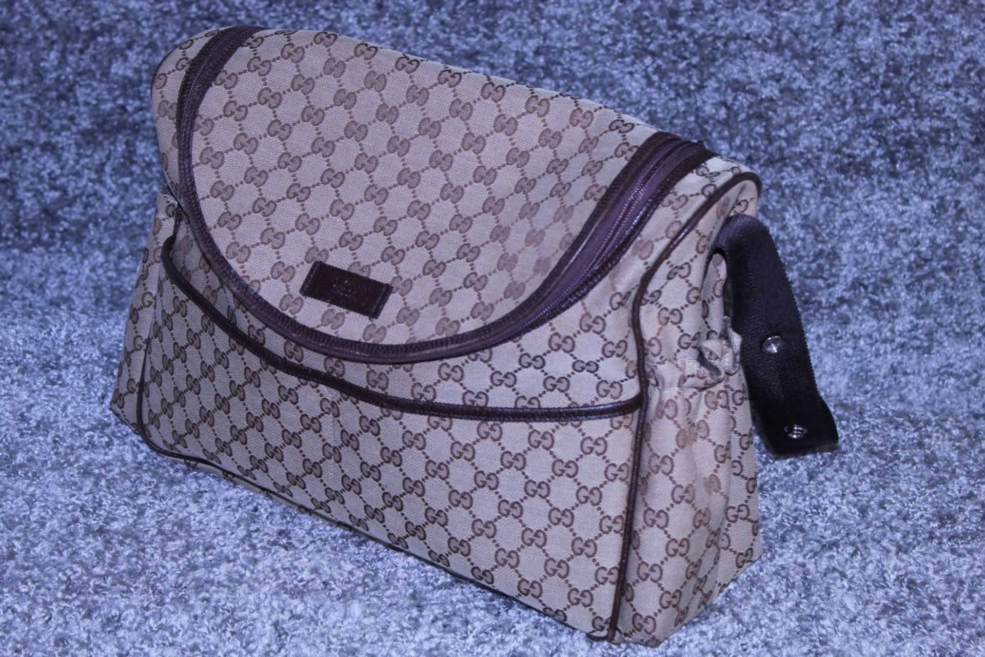 RRP £1,200 Gucci Original Diaper Bag, Beige/Dark Brown Monogramme Canvas, 36X28X12Cm (Production - Image 3 of 5