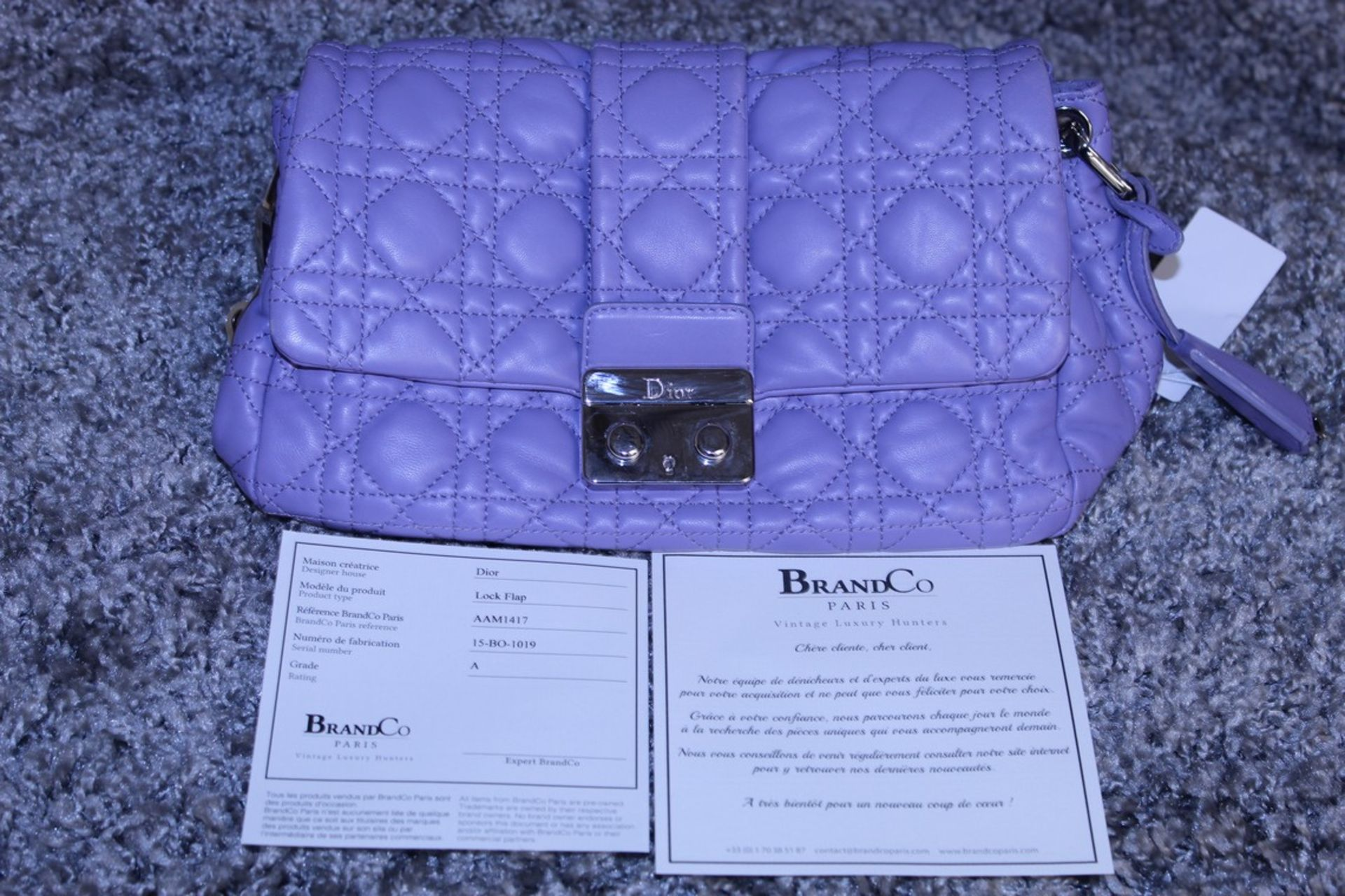 RRP £1,700 Dior Violet Lock Flap Shoulder Bag, Calf Leather, Violet Leather Straps, 24X17X12Cm ( - Image 3 of 3