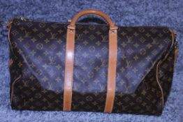 RRP 2,000 Louis Vuitton Keepall 50 Bandouliere Shoulder Bag, Brown Coated Canvas Monogram,