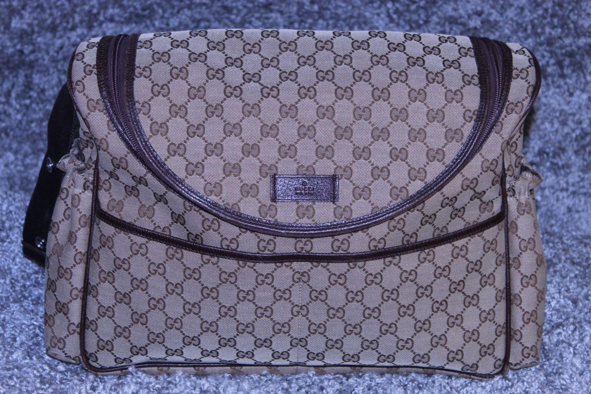RRP £1,200 Gucci Original Diaper Bag, Beige/Dark Brown Monogramme Canvas, 36X28X12Cm (Production