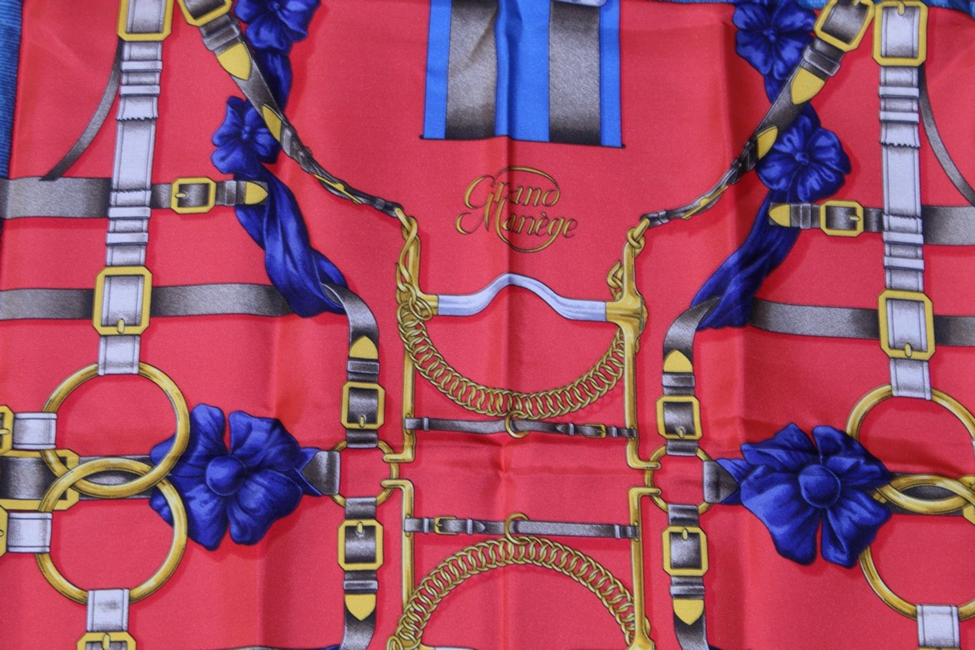 RRP £680 Hermes 100% Twill Silk Scarf, Grand Manege, Red/Blue/Grey 90X90Cm, Condition Rating Aa ( - Image 2 of 4