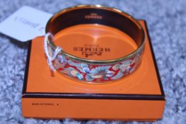 RRP £600 Hermes Enamel Bangle, Birds Species, Red/Green/Yellow, 6Cm Diameter, Condition Rating A, (