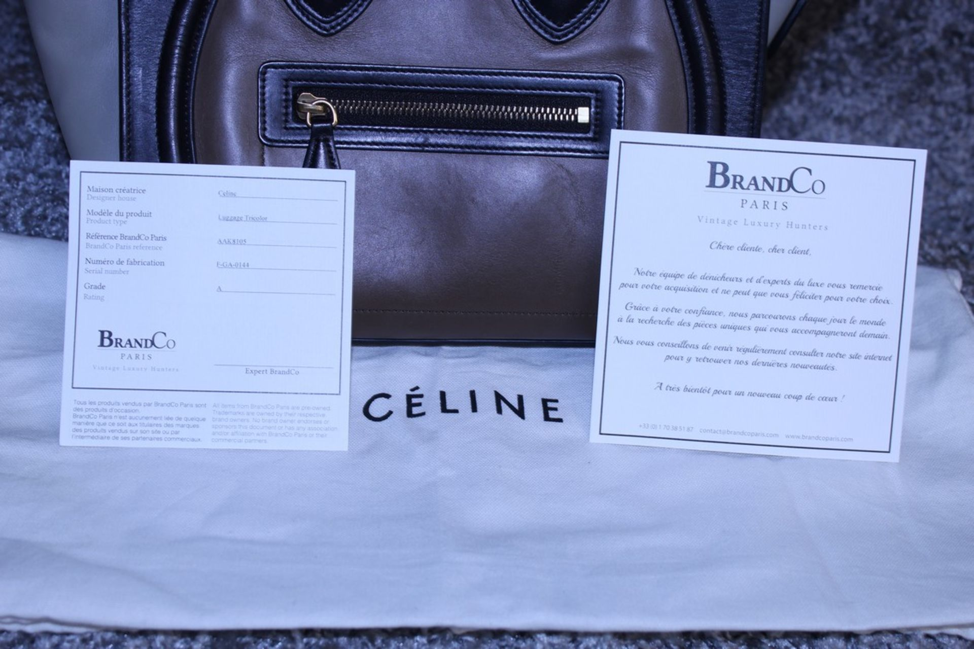 RRP £1,500 Celine Luggage Tricol Handbag, Céline 'Mini Luggage'. Open Swith A Zipper On Top And Is - Image 5 of 5