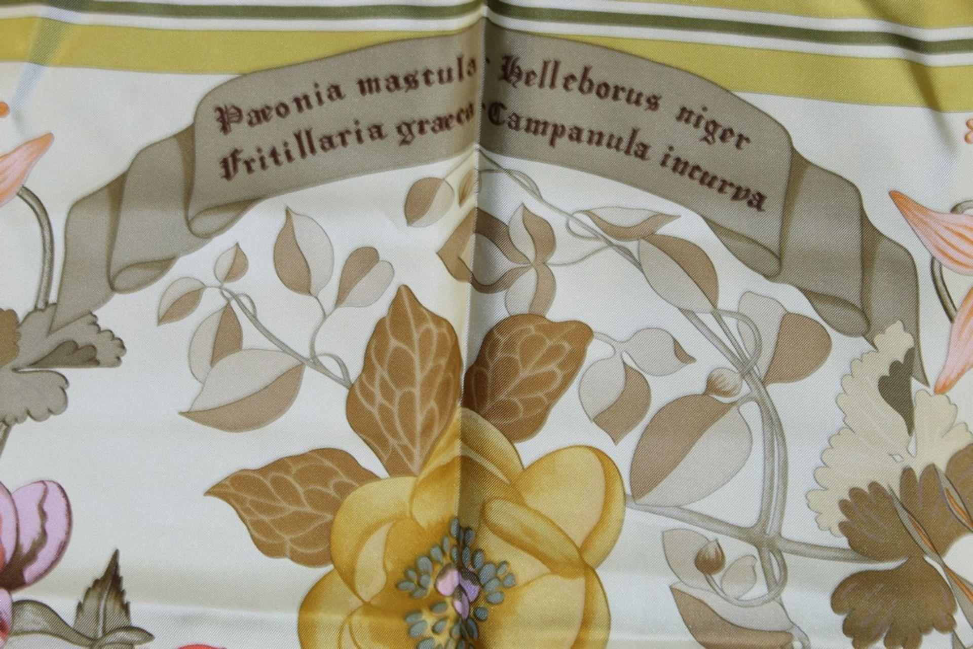 RRP £680 Hermes 100% Twill Silk Scarf, Aquilegia Othonis By Niki Goulandris, Yellow/Green, 90X90Cm - Image 4 of 5
