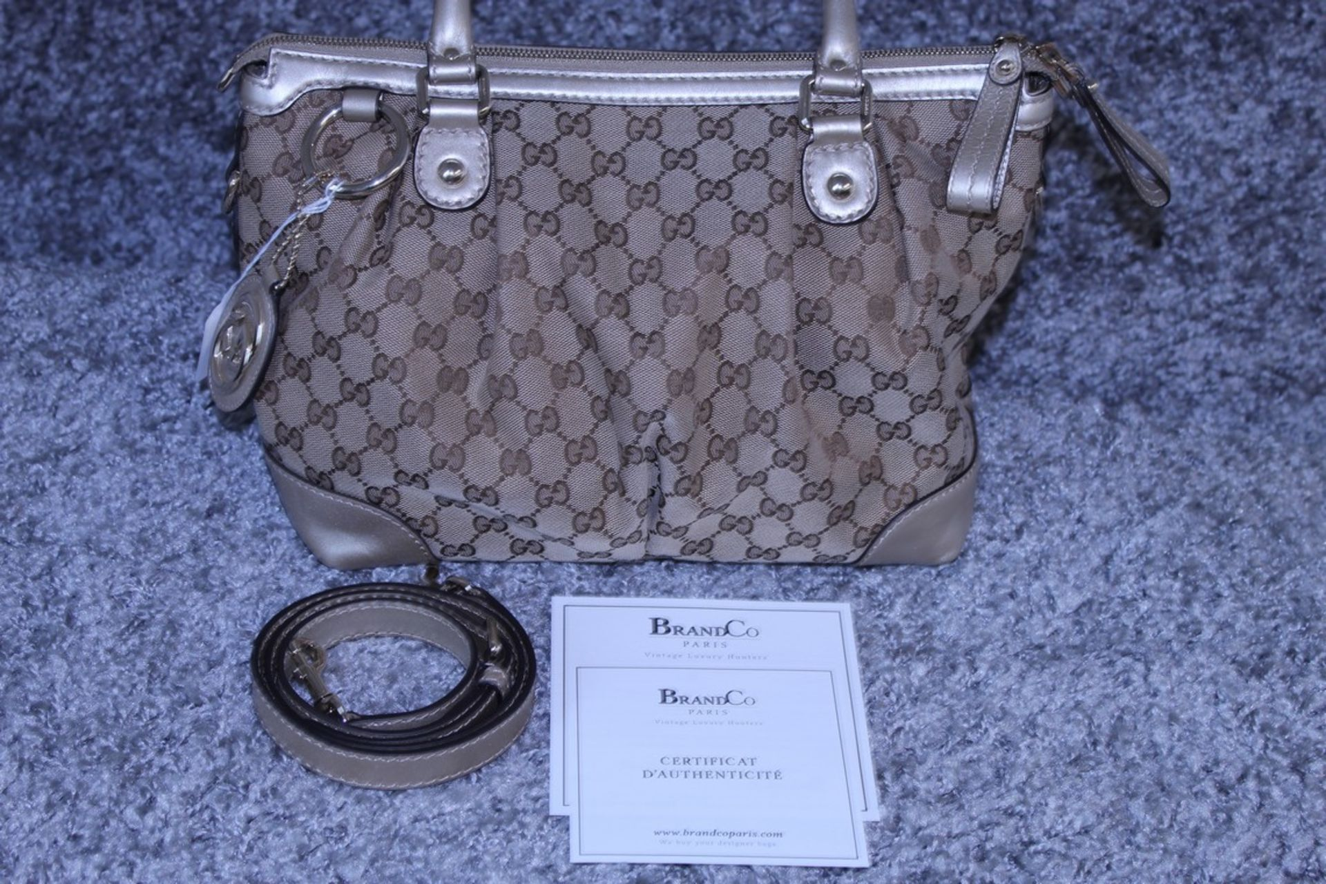 RRP £1,600 Sukey Top Handle Shoulder Bag, Beige/Brown Monogram Canvas, 28.5X22X12Cm (Production Code - Image 3 of 5