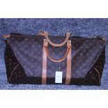 RRP £1,780 Louis Vuitton Keepall 55 Travel Bag, Brown Monogram Canvas, Vachetta Handles, 55X28X25Cm,