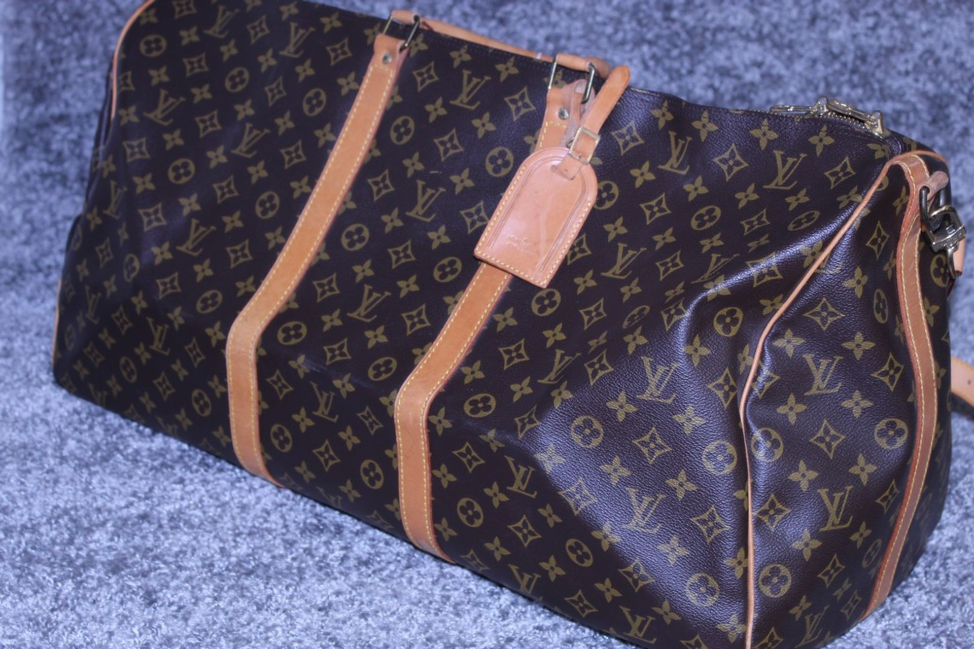 RRP £1,800 Louis Vuitton Keepall 60 Bandouliere Travel Bag, Brown Coated Canvas Monogram, 60X26X31Cm - Image 3 of 5