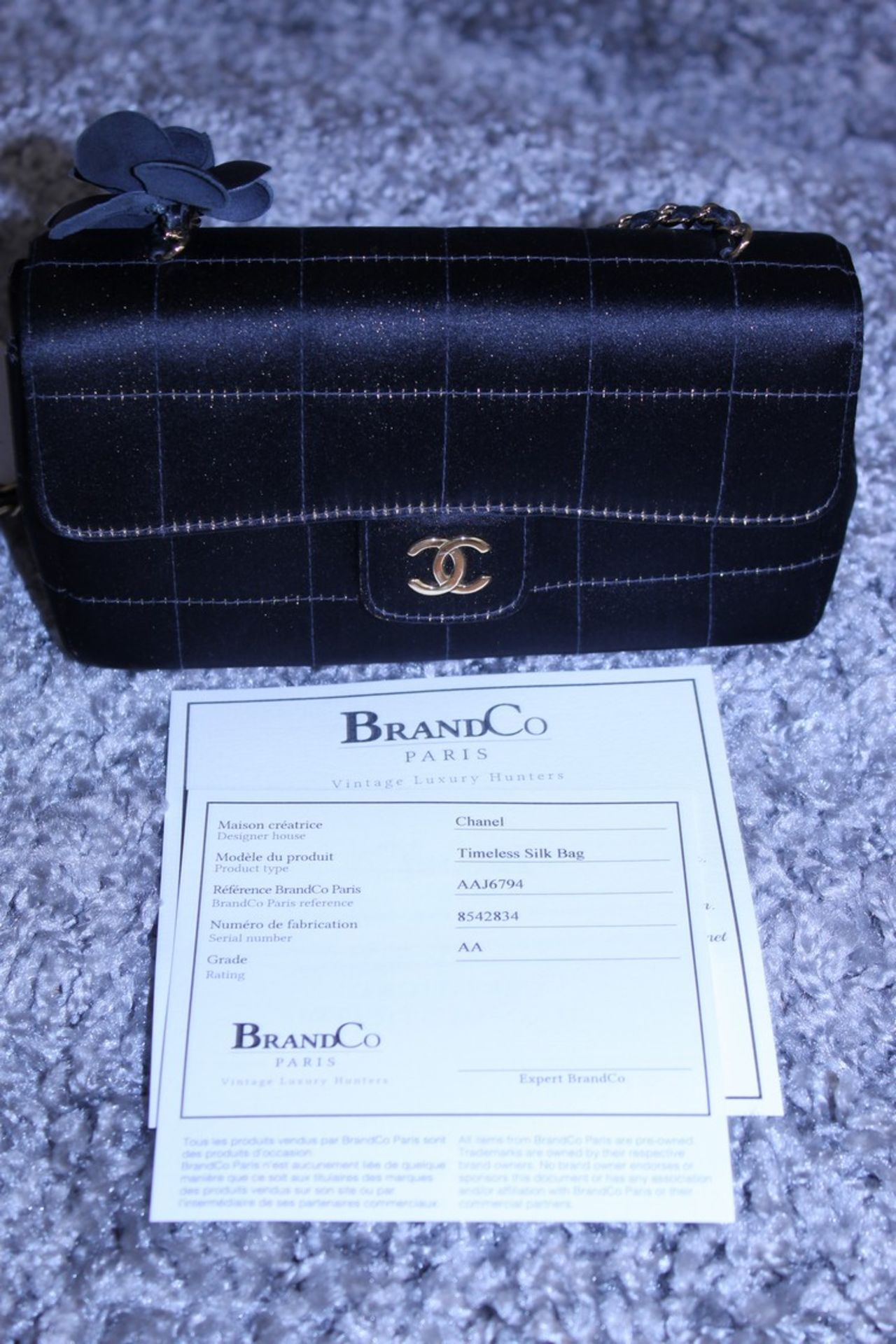 RRP £3,500 Chanel Timess Silk Bag, Black Canvas Square Quilted, Gold Chain Handles (Production - Image 4 of 4