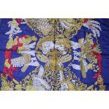 RRP £680 Hermes 100% Twill Silk Chapeau By Annie Faivre, Dark Blue/Gold/Red 90X90Cm, Condition