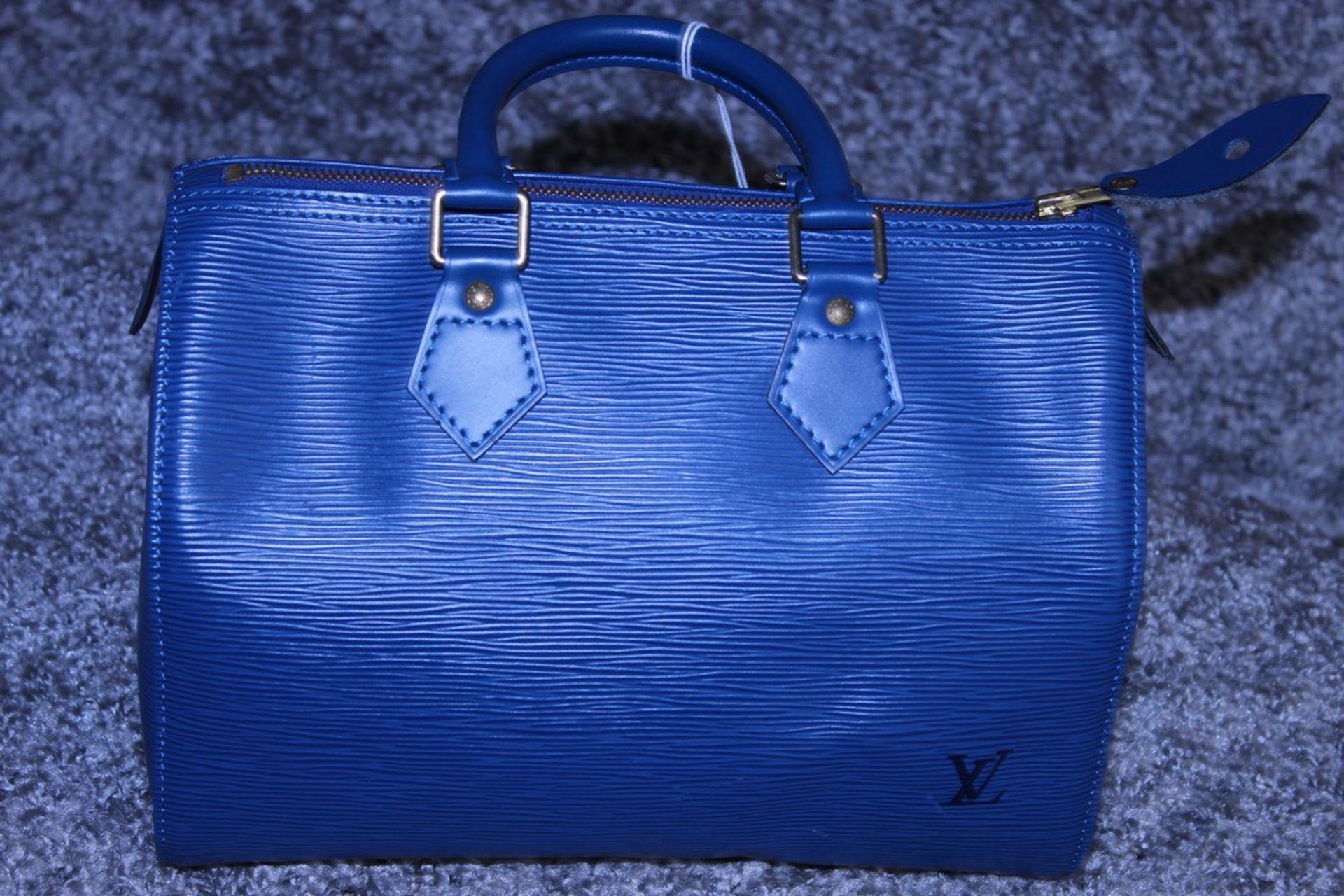 RRP £1,000 Louis Vuitton Speedy 25 Handbag, Blue Epi Calf Leather, 27X19X15Cm (Production Code - Image 2 of 5