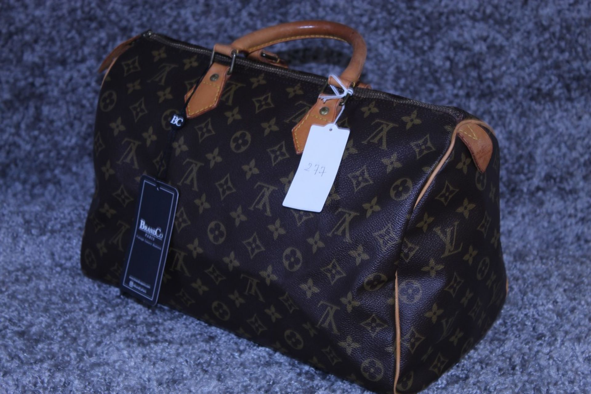 RRP £1100 Louis Vuitton Speedy Brown Coated Monogram Canvas Handbag With Vachetta Handles ( - Image 3 of 4