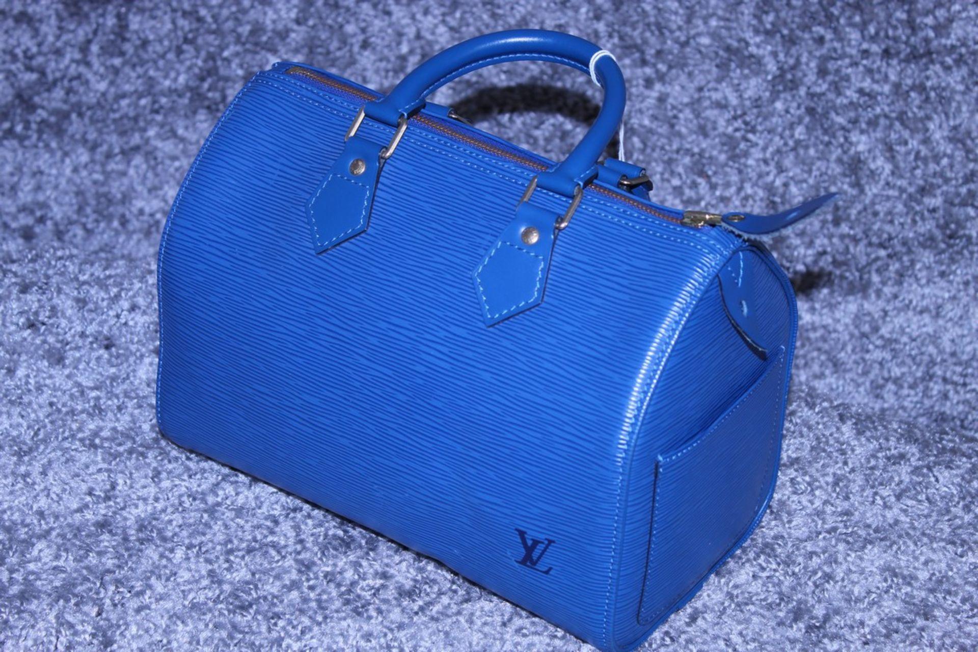 RRP £1,000 Louis Vuitton Speedy 25 Handbag, Blue Epi Calf Leather, 27X19X15Cm (Production Code - Image 3 of 5