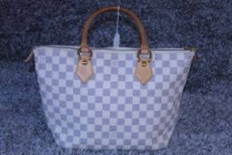 RRP £2,200 Louis Vuitton Saleya Handbag, Size Pm, Ivory Damier Azur Coated Canvas, 37X24X14Cm, (