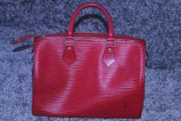 RRP £2900 Louis Vuitton Speedy Black Stitched Handbag In Red Leather. Condition Rating A (Aam4679)