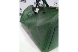 RRP £1450 Louis Vuitton Keepall 50 Green Calf Leather Epi Green Leather Golden Brass Travel Bag (
