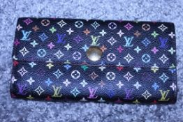 RRP £900 Louis Vuitton Sarah 10 Wallet, Black/Pink Coated Canvas, Multicolour Monogram 19X10X2Cm (