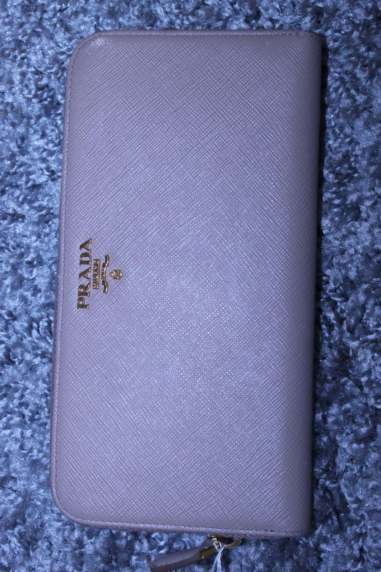 RRP £590 Prada Continental Wallet, Beige Saffiano Leather, 20X10Cm (Production Code 107D)
