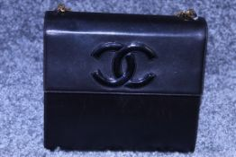 RRP £2000 Chanel Tall Logo Flap Chain Tote Shoulder Bag In Black Leather With Gold Chain Handles
