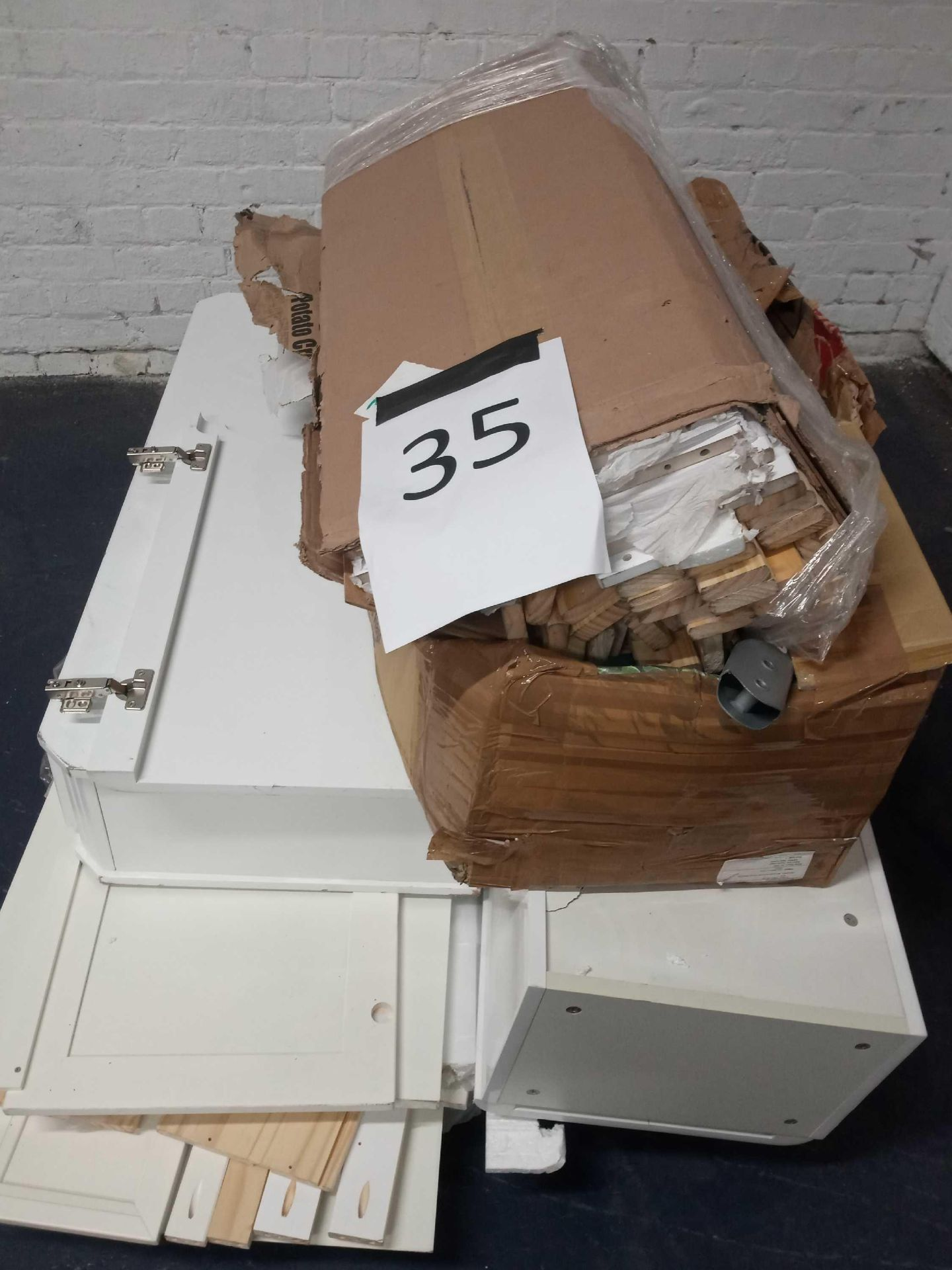 Pallet To Contain A Assortment Of Items To Include White Gloss Part Lots, Bunk Bed Part Lots, And