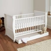 RRP £149 Boxed 4 Baby 3In1 White Sleigh Solid Cot Bed
