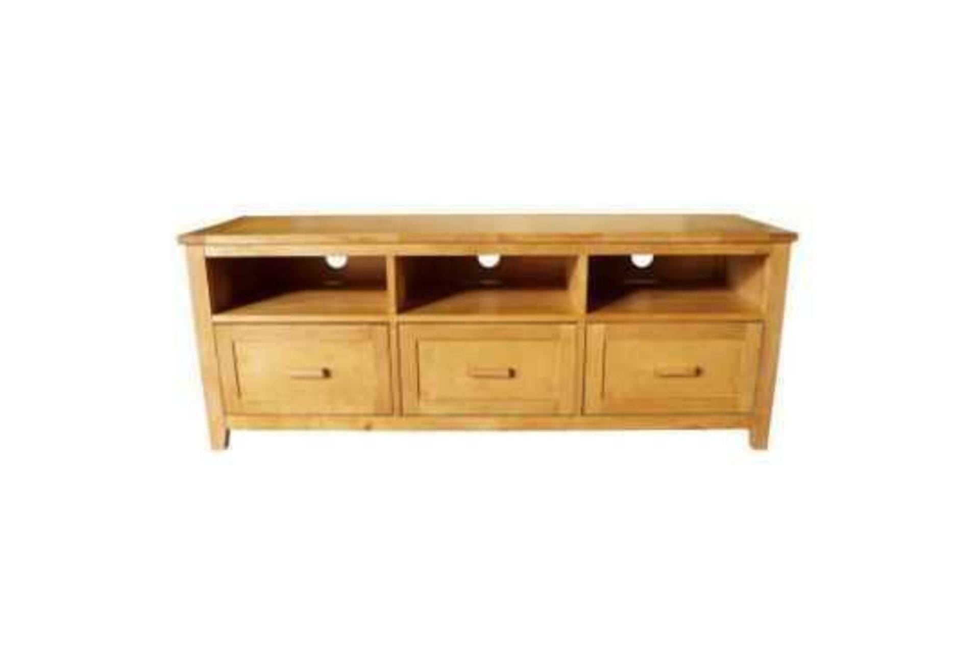 RRP £780 Boxed Brand New Fenton 3 Drawer Oak Tv Stand