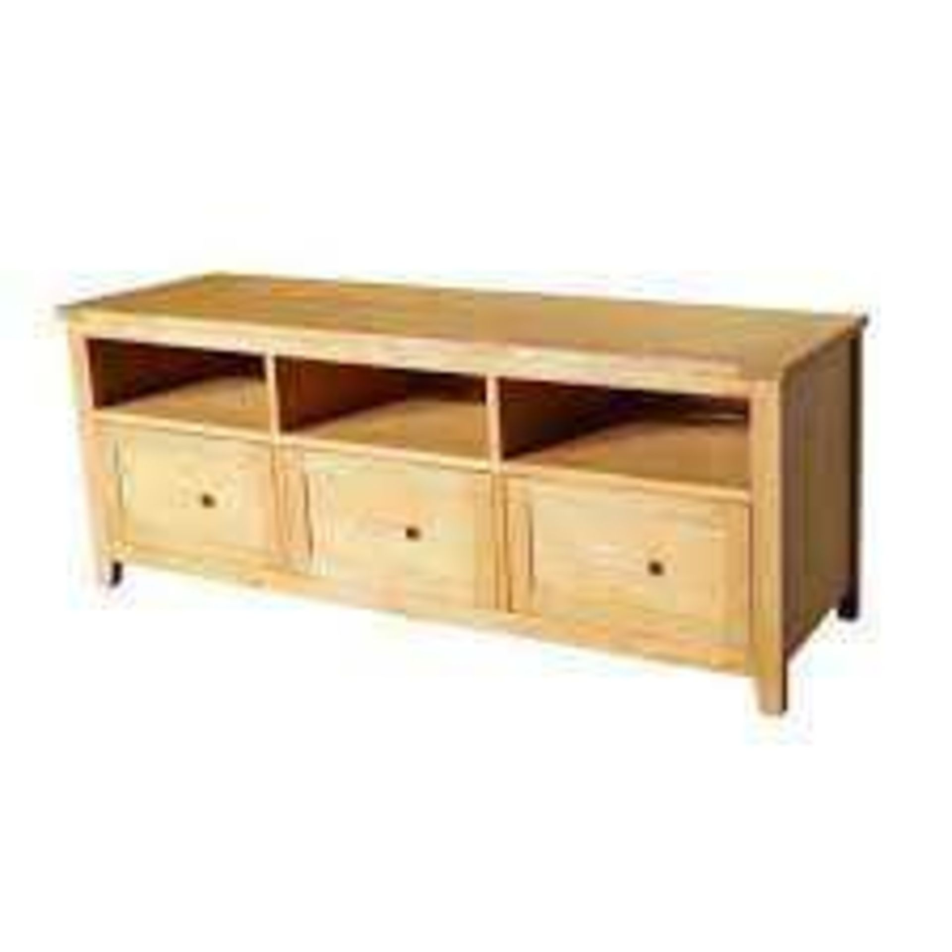 RRP £700 Boxed Brand New Fenton 3 Drawer Oak Tv Stand