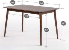 RRP £240 Boxed Sinus Mid Century Modern Large Wood Dining Table