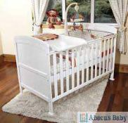 RRP £149 Boxed Abacus Baby Solid White Wooden Cot Bed