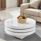 RRP £400 Boxed Furniture In Fashion Triplo Round White High Gloss Coffee Table