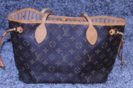 RRP £1500 Louis Vuitton Neverfull Handbag In Brown Coated Monogram Canvas With Vachetta Handle (