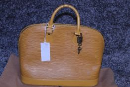 RRP £1,700 Louis Vuitton Alma Yellow Calf Epi Leather Handbag, Complete With Cadena, Keys & Dust Bag