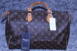 RRP £1100 Louis Vuitton Speedy Brown Coated Monogram Canvas Handbag With Vachetta Handles (