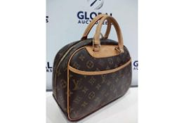 RRP £1450 Louis Vuitton Trouville Brown Coated Canvas Monogram Canvas Vachetta Golden Brass