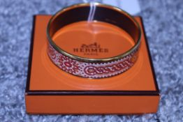 RRP £600 Hermes Enamel Bangle, Tile Art Motif, Red/Orange/Yellow, Diameter 6Cm, Condition Rating Ab,