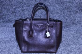 RRP £1100 Prada Trapeze Tote Shoulder Bag In Dark Brown Grained Leather With Dark Brown Leather