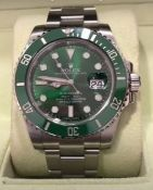 RRP £25,000 Rolex Submariner Stainless Steel, Green Dial & Green Bezel, Model Number 116610Lv. Boxed