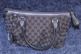 RRP £1,600 Sukey Top Handle Shoulder Bag, Beige/Brown Monogram Canvas, 28.5X22X12Cm (Production Code