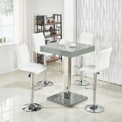 RRP £190 Boxed Topaz Grey High Gloss Bar Table