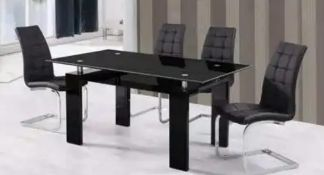 RRP £300 Boxed Trends Interiors Paris Dining Table In Black Glass And Chrome