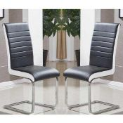 RRP £340 Boxed Symphony Dining Chair In Black And White Pu In A Box Of 4