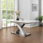 RRP £560 Boxed Axara White And Grey High Gloss Dining Table