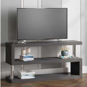 RRP £210 Boxed Miami Tv Stand Shelving In High Gloss Grey