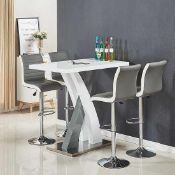RRP £370 Boxed Axara White And Grey High Gloss Bar Table