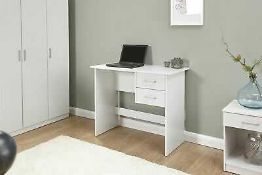 RRP £70 Boxed Panama 2 Drawer Desk Dressing Table Home Computer Office Desk White