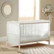 RRP £149 Boxed Solid Wooden White 4Baby Cot Bed