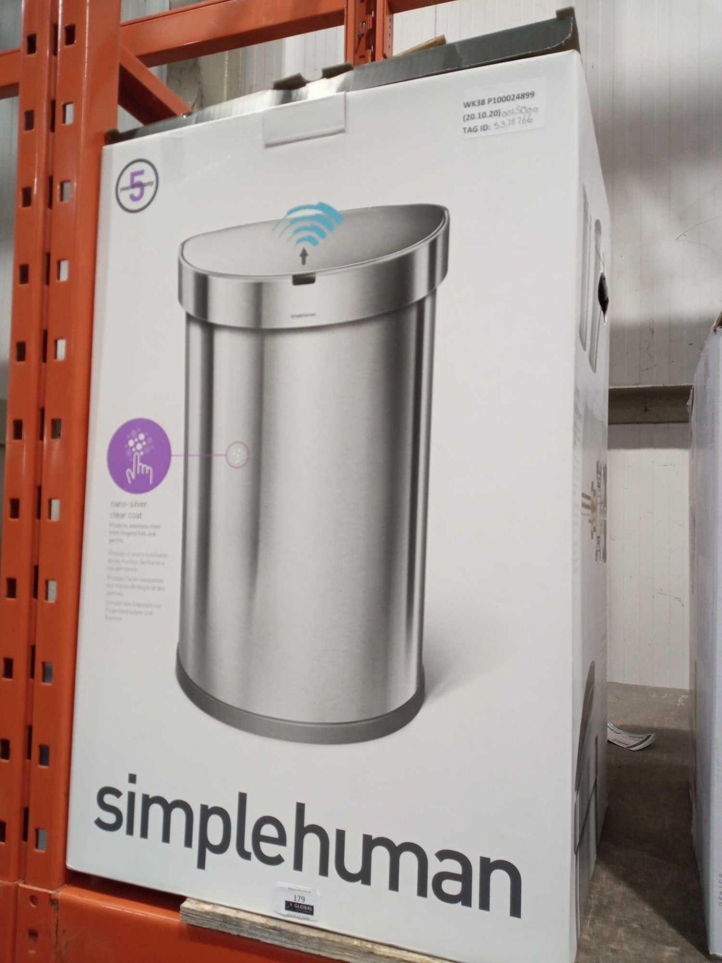 RRP £150 Boxed Simplehuman Nano Silver Clear Coat Motion Sensor Bin