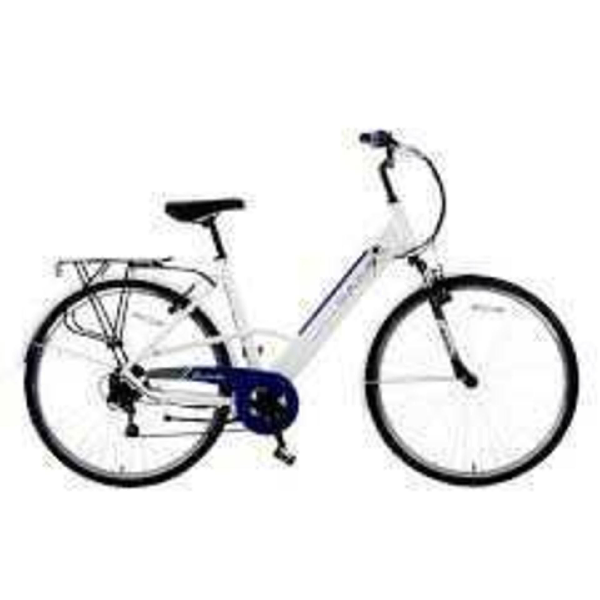 RRP £800 Basis Dorchester Step Through Integrated Electric City Bike - White/Blue(Unassembled)