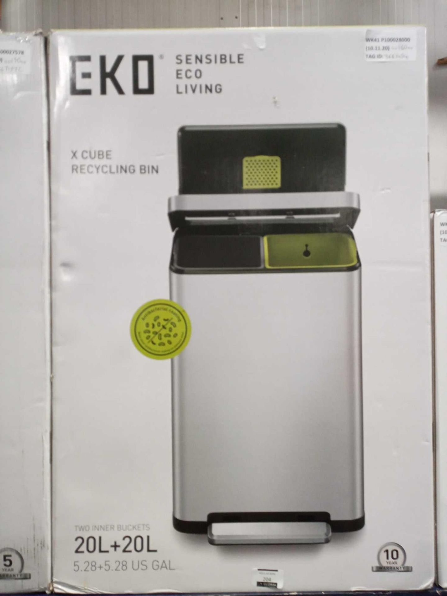RRP £160 Boxed Eco Sensible Living X Cube Recycling Bin Combined 40 L