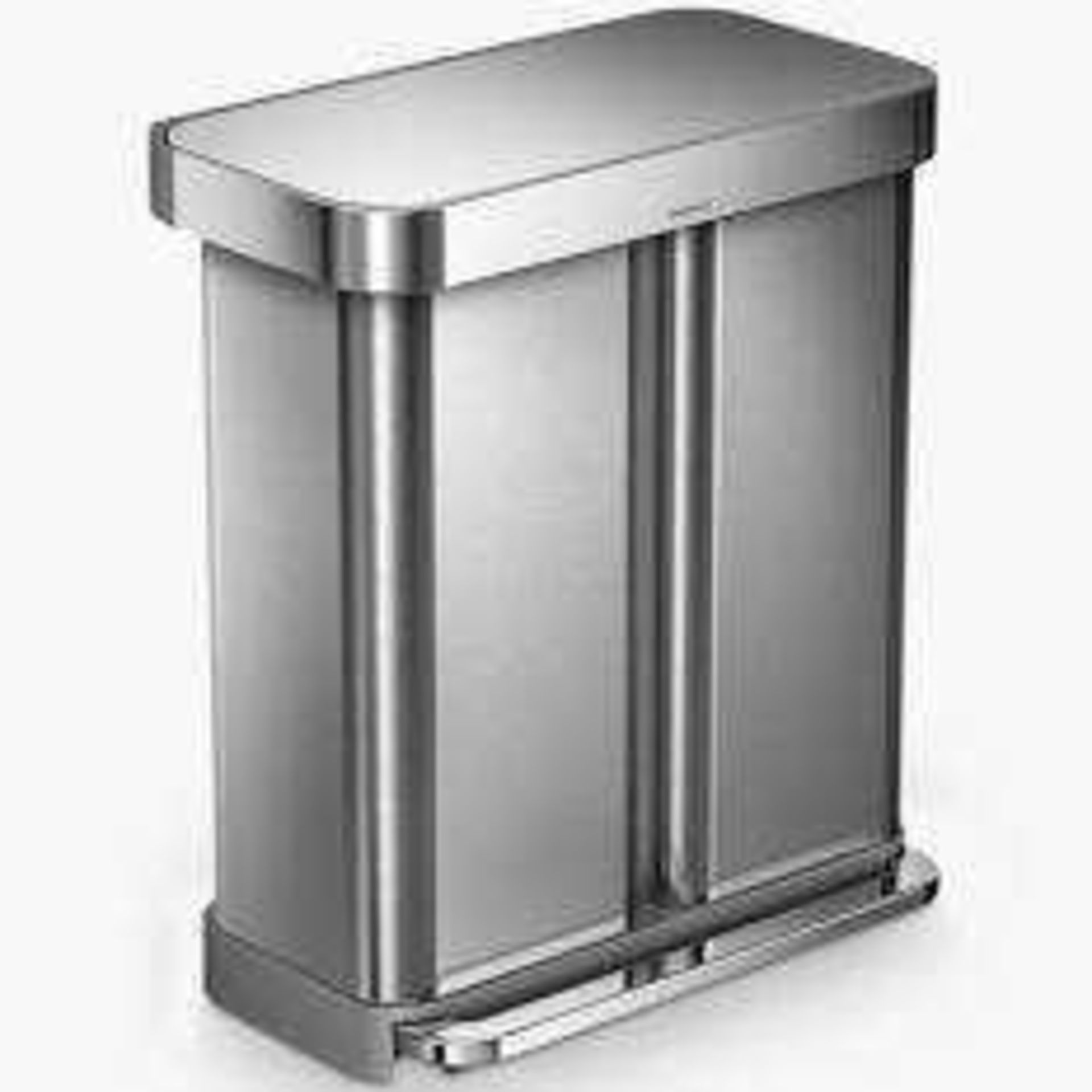 RRP £175 Unboxed Simplehuman Dual Compartment Step Can Bin (In Need Of Attention)