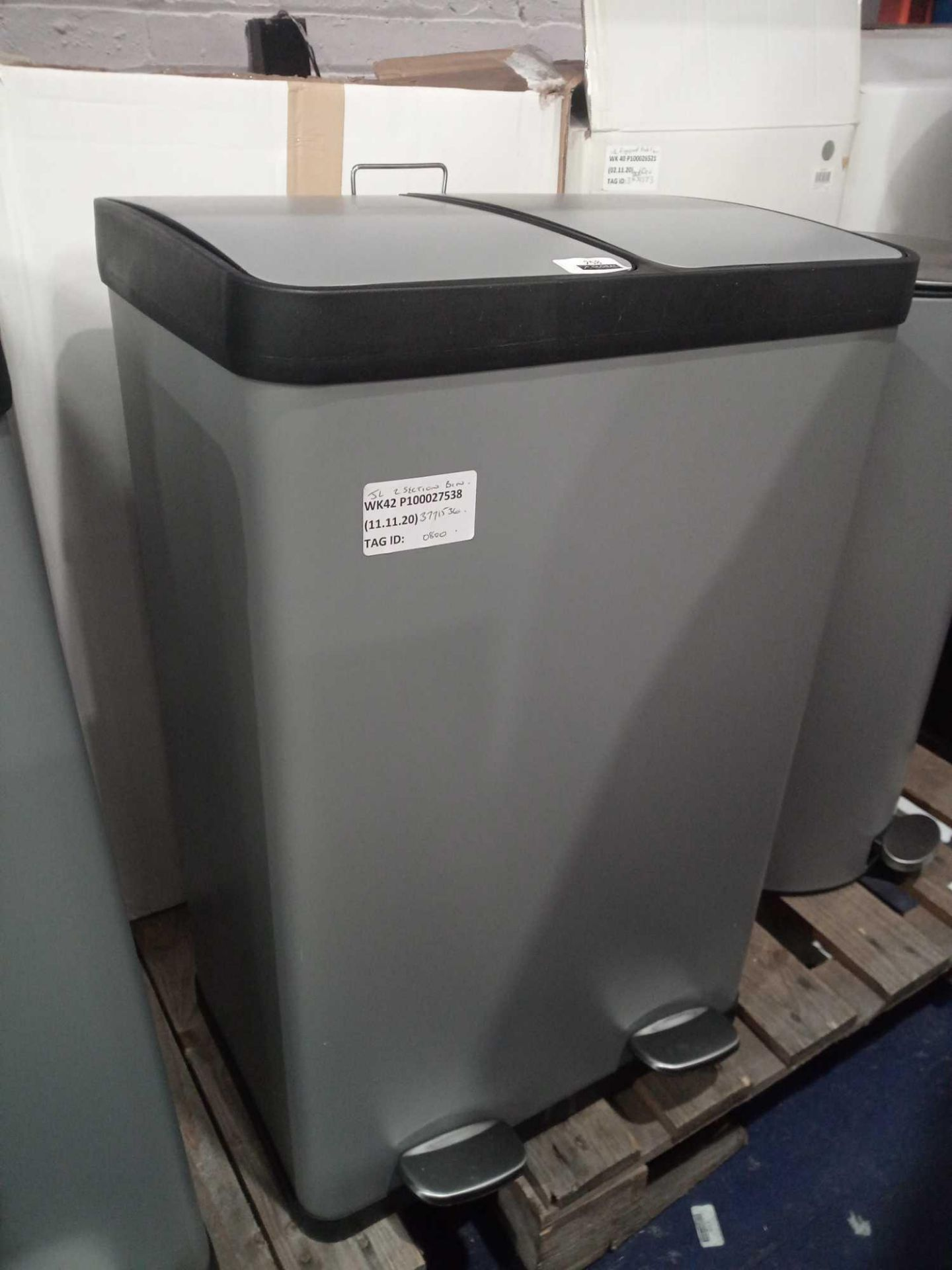 RRP £80 Boxed John Lewis 2-Section Waste Bin In Grey